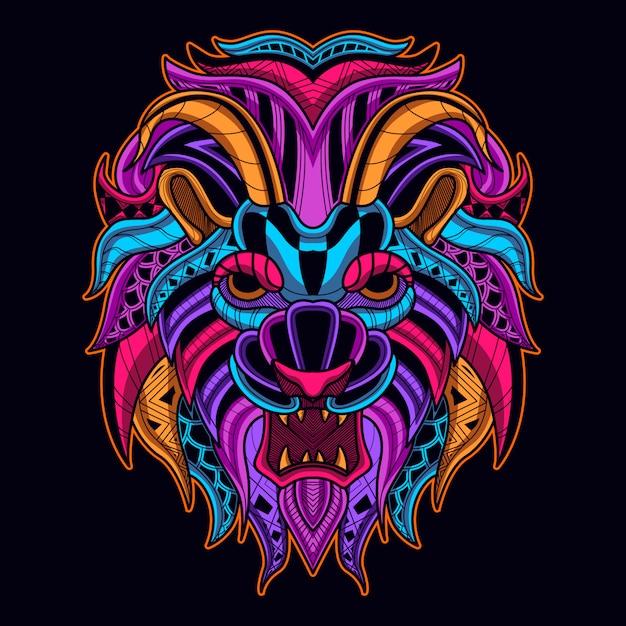 Tête de lion dans le style de couleur néon Vecteur Premium