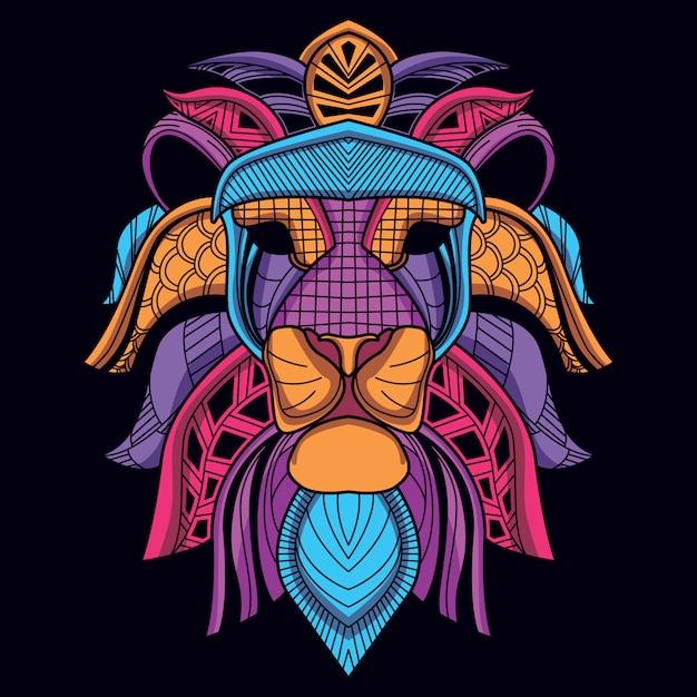 Tête de lion décorative abstraite de couleur néon lueur Vecteur Premium