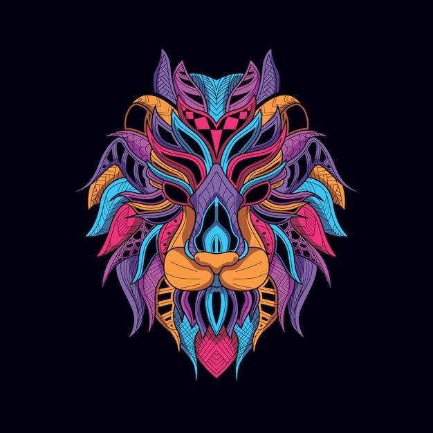 Tête de lion décorative de couleur néon brillant Vecteur Premium