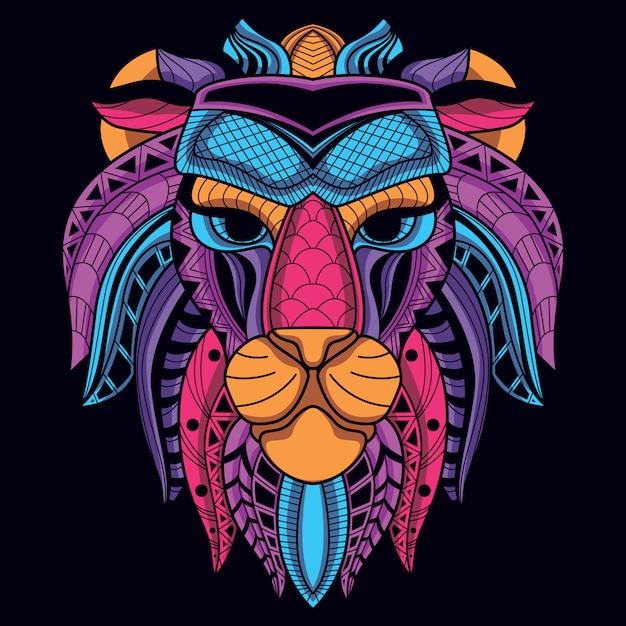 Tête de lion décorative de couleur néon Vecteur Premium