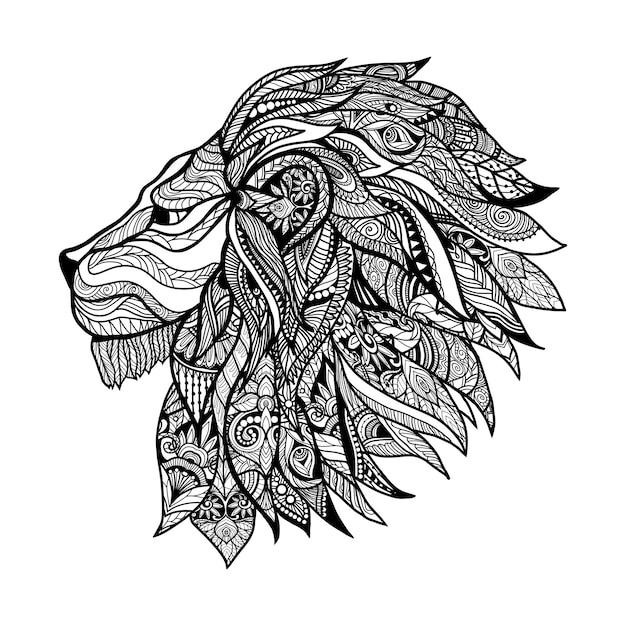 Tête de lion décorative Vecteur gratuit