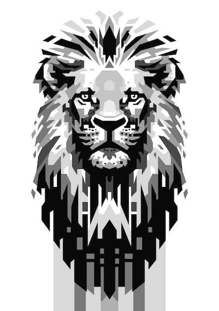 Tête de lion gris échelle vecteur Vecteur Premium