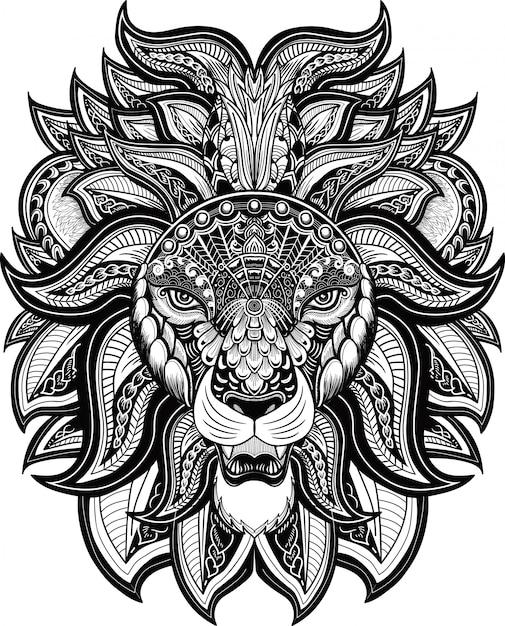 Tete de lion style zentangle blanc et noir Vecteur Premium