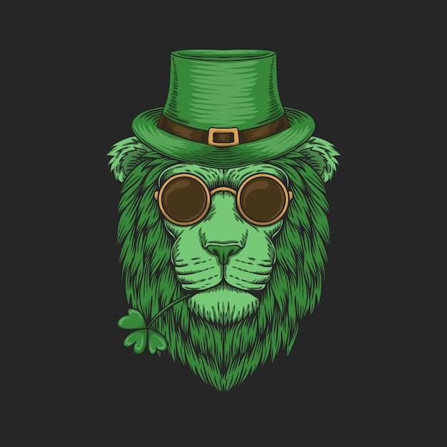 Tête De Lion Vert Pour L'illustration De La Saint-patrick Vecteur Premium