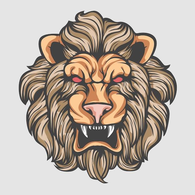 Tête de lion Vecteur Premium