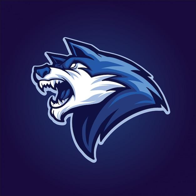 Tête de loup bleu Vecteur Premium