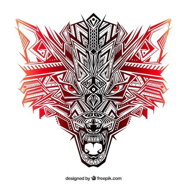 Tête De Loup Ethnique Aux Tons Rougeâtres Vecteur gratuit