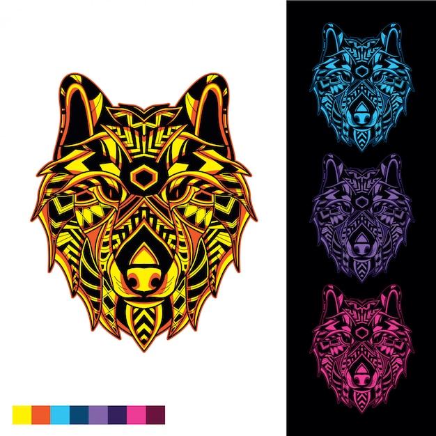 Tête de loup de motif décoratif avec lueur dans le noir Vecteur Premium