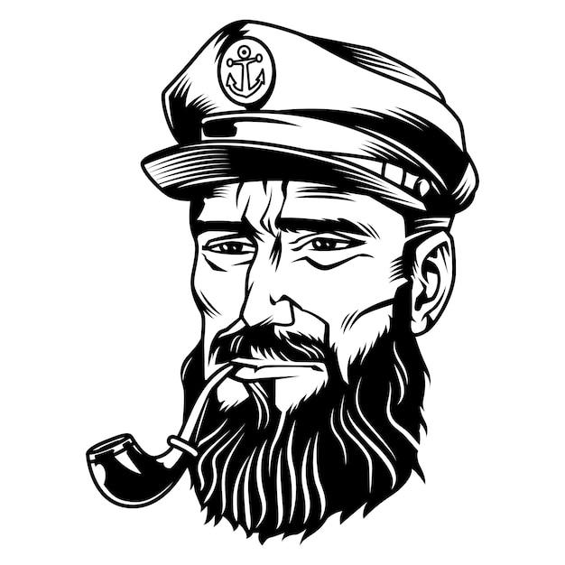 Tête De Marin Noir Et Blanc Vecteur gratuit