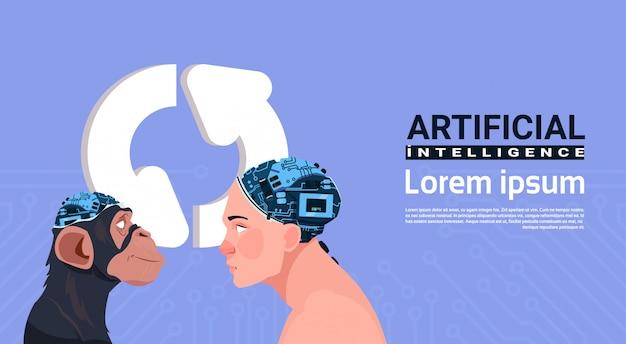 Tête masculine et de singe avec un cerveau cyborg moderne mettant à jour son intelligence artificielle Vecteur Premium