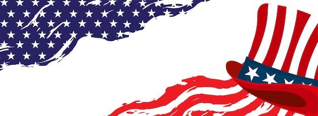 En-tête de modèle de drapeau américain Vecteur Premium