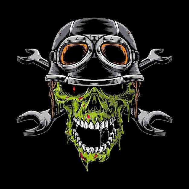 Tête De Motard Zombie Isolée Sur Fond Noir Vecteur gratuit