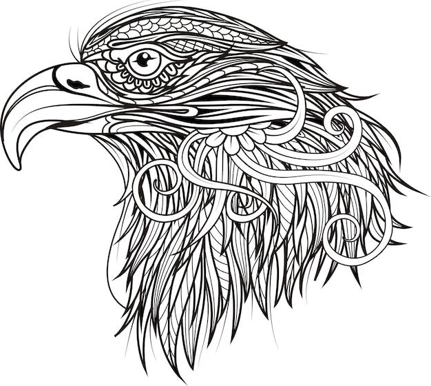 Tête à Motifs D'aigle Art Zentangle Noir Et Blanc Vecteur Premium