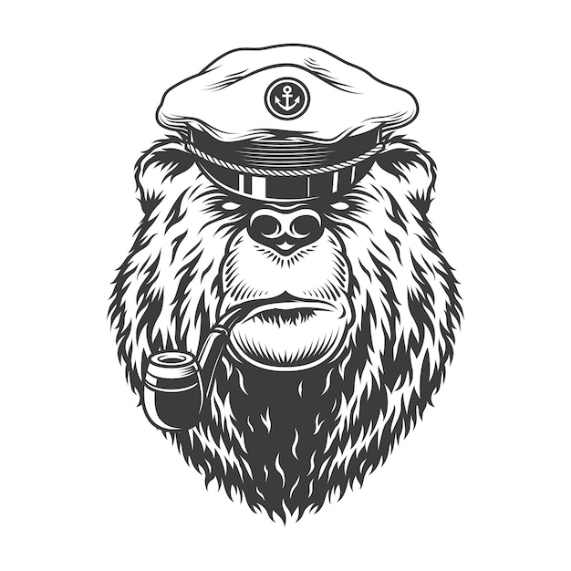 Tête D'ours Capitaine De Mer Monochrome Vintage Vecteur gratuit