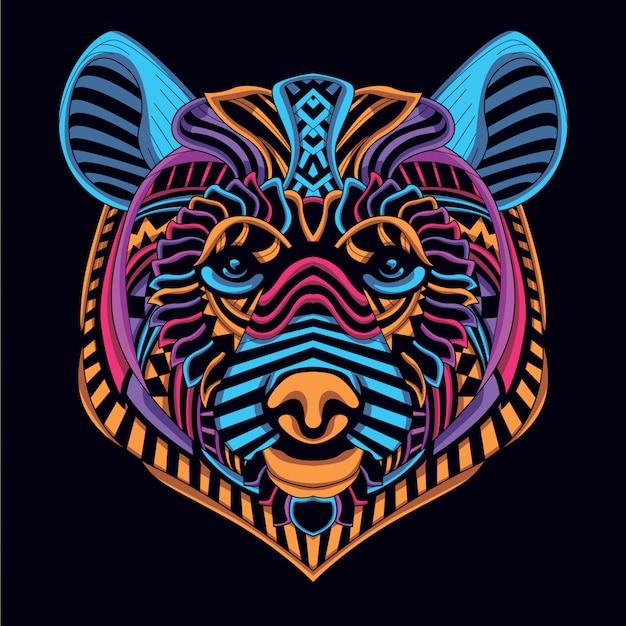 Tête d'ours décorative de couleur néon brillant Vecteur Premium
