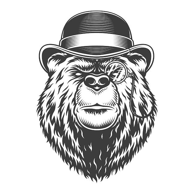 Tête D'ours Gentleman Sérieux Vintage Vecteur gratuit
