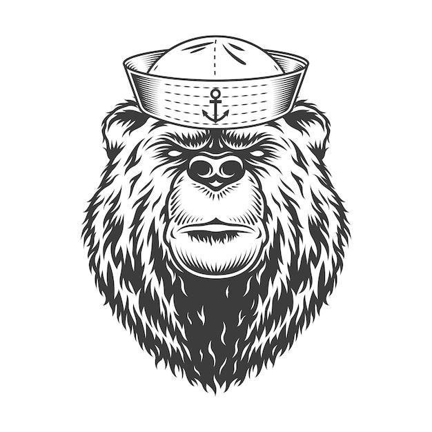 Tête D'ours Marin Portant Un Chapeau De Marin Vecteur gratuit