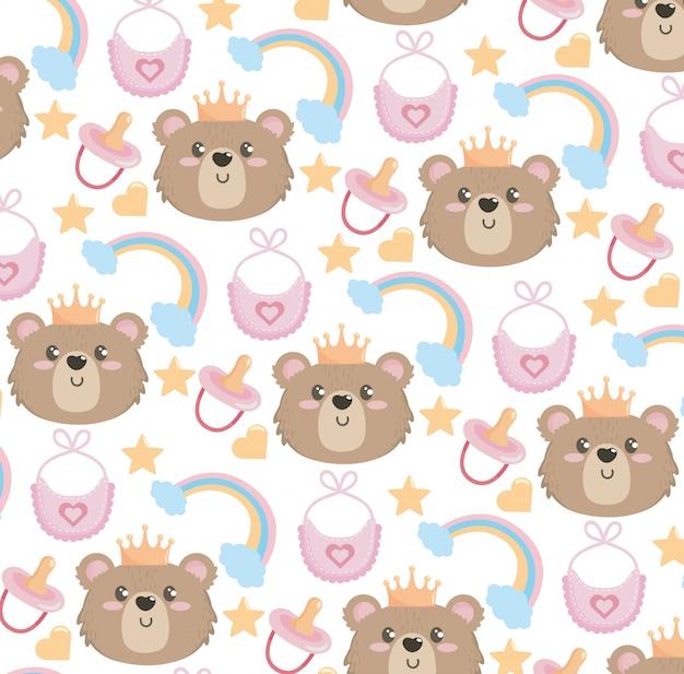Tête d'ours mignonne avec motif arc-en-ciel et bavoir Vecteur gratuit