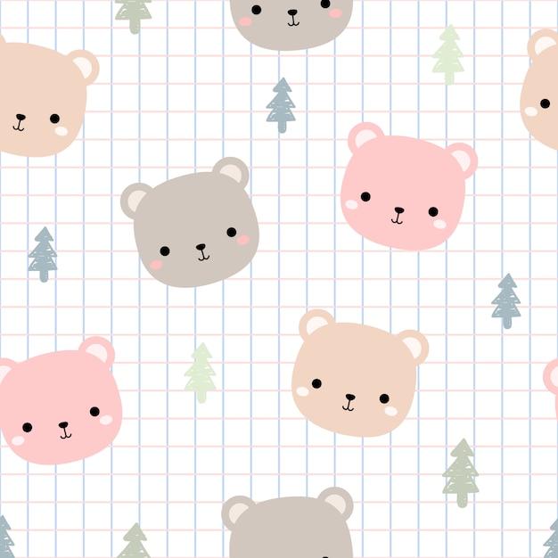 Tête d'ours en peluche mignon avec motif sans soudure de dessin animé de grille doodle Vecteur Premium