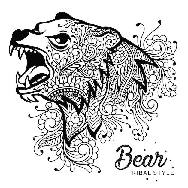 Tête d'ours style tribal dessiné à la main Vecteur Premium