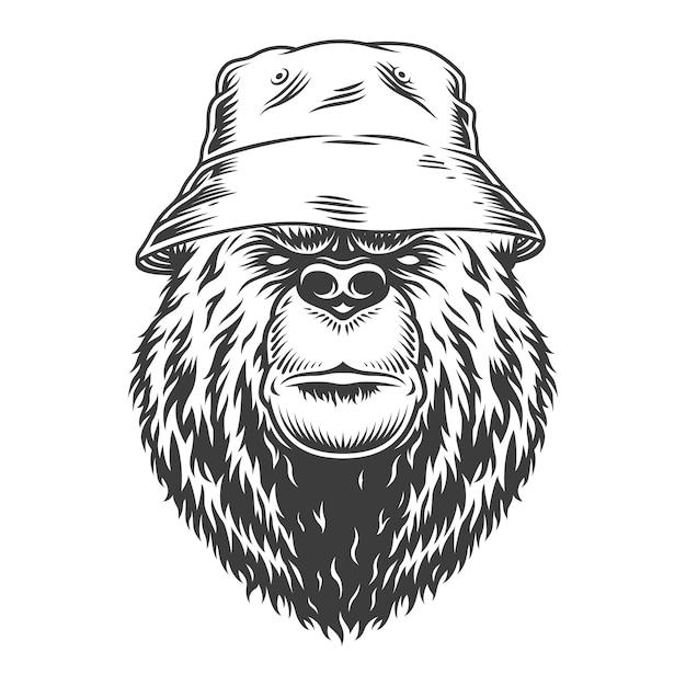 Tête D'ours Vintage En Chapeau Panama Vecteur gratuit