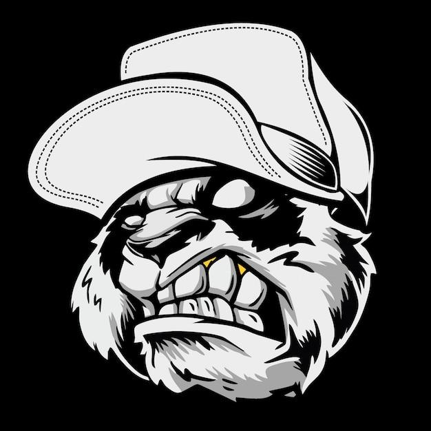 Tête de panda en colère coiffée d'un chapeau. dessin à main levée Vecteur Premium