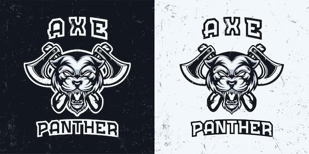 Tête De Panthère Monochrome Noir Et Blanc Avec Illustration De Logo De Mascotte Hache Vecteur Premium