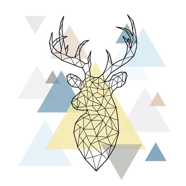 Tête polygonale abstraite du cerf forestier. Vecteur Premium