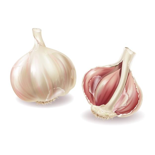 Tête réaliste en ail 3d - gousses entières de légumes et d'ail, lobules dans la balle, pelures. Vecteur gratuit