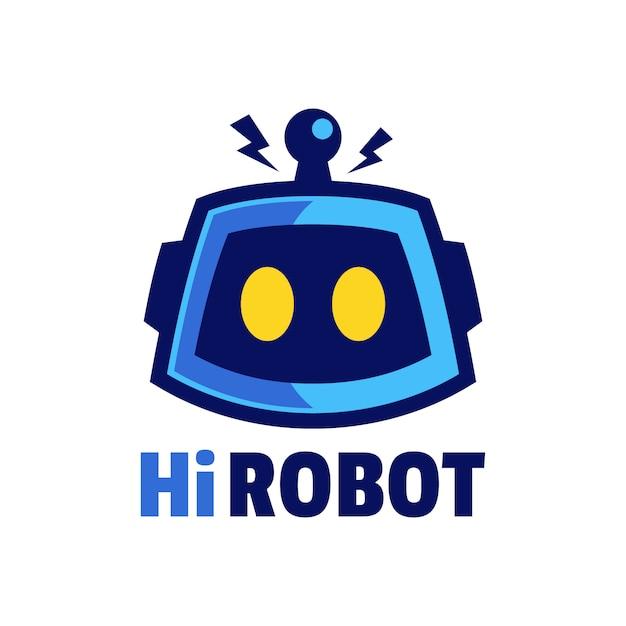 Tête De Robot De Dessin Animé Avec Création De Logo D'antenne Vecteur Premium
