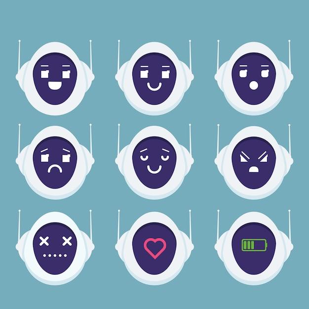 Tête De Robot Mignon émotion Avatar Concept Android Emoji Vecteur Premium