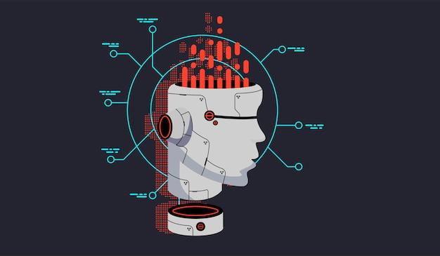 Tête De Robot De Vecteur. Vecteur Premium