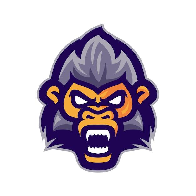 Tête de singe en colère logo vectoriel mascotte Vecteur Premium