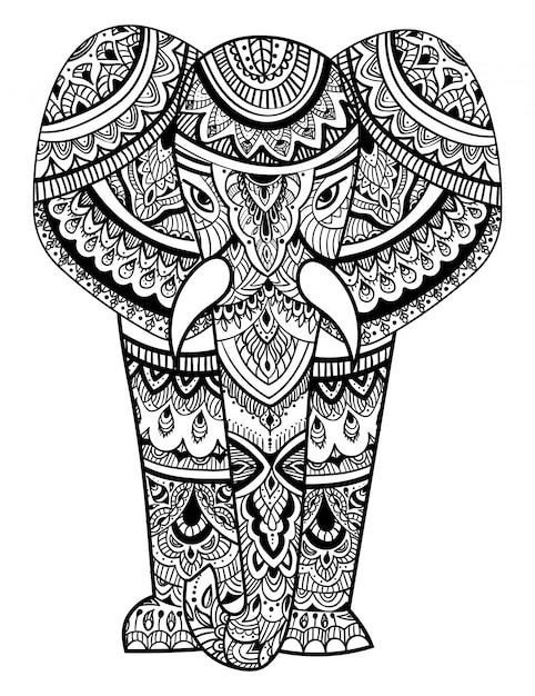 Tête Stylisée D'un éléphant. Portrait Ornemental D'un éléphant. Dessin Noir Et Blanc. Vecteur Premium