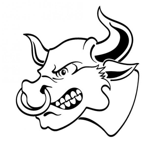 Tête de taureau en colère à la vue latérale Vecteur gratuit