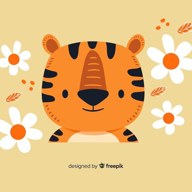 Tête de tigre plat Vecteur gratuit