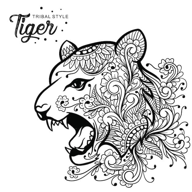 Tête de tigre style tribal dessiné à la main Vecteur Premium