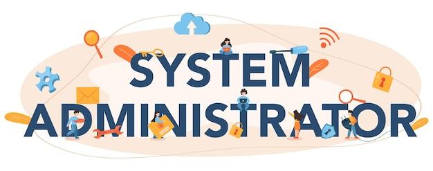 En-tête Typographique De L'administrateur Système Vecteur Premium