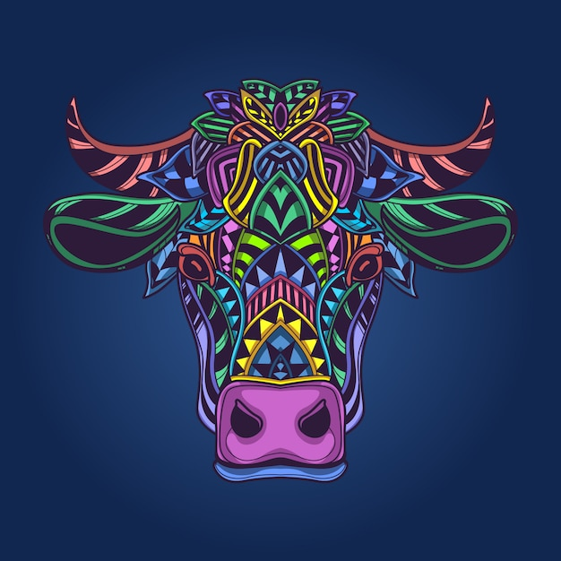 Tête De Vache Oeuvre Colorée Vecteur Premium