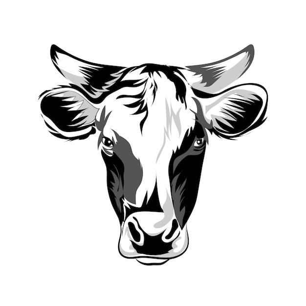 Tête de vache Vecteur Premium