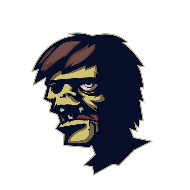 Tête de zombie en dessin animé Vecteur Premium