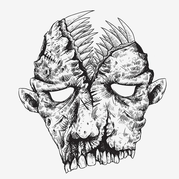 Tête de zombie avec grande bouche sur le dessin de la main en haut Vecteur Premium