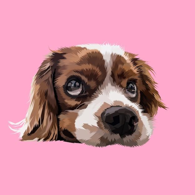 Têtes de chien paresseux dans des styles pop art géométriques Vecteur Premium