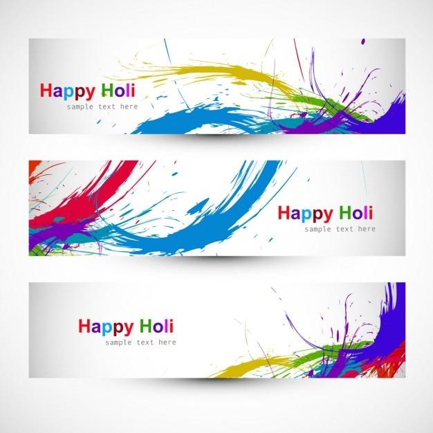 têtes colorées du festival Holi Vecteur gratuit