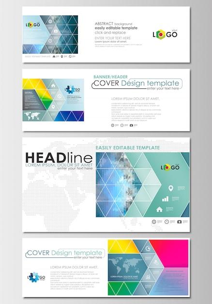 En-têtes de médias sociaux et d'email définis, bannières modernes. modèle de conception de la couverture avec gradie de maille Vecteur Premium