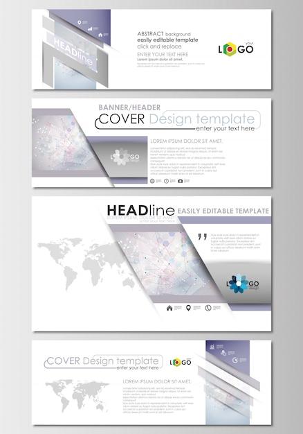 En-têtes de médias sociaux et d'email définis, bannières modernes. modèle de conception de la couverture. structure de la molécule Vecteur Premium