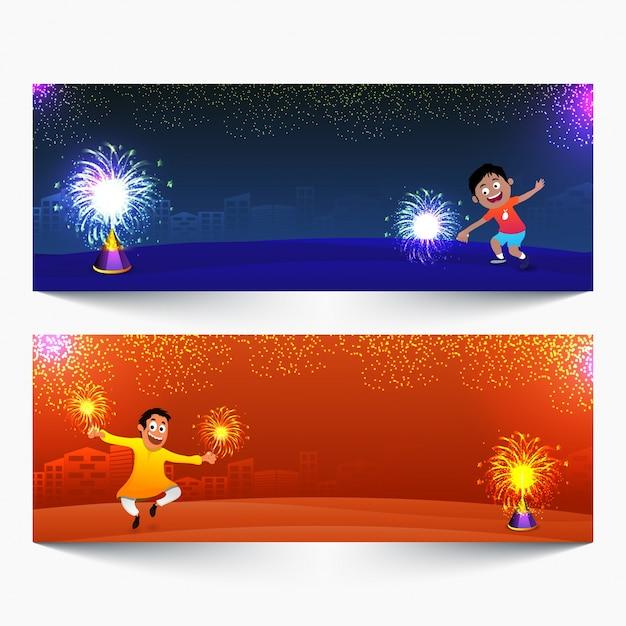 En-têtes de site web pour la célébration de happy diwali. Vecteur Premium