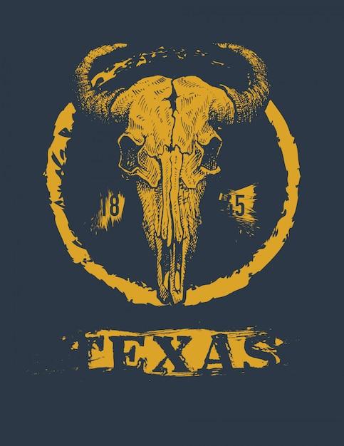 Texas Buffalo Tee Print Graphic Vecteur Premium
