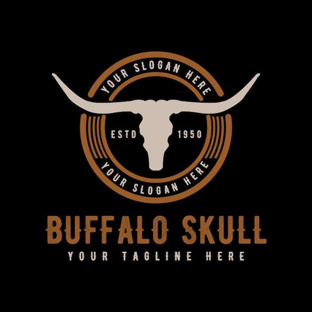 Texas Longhorn, Pays Western Bull Bull Vintage Vintage Logo Design Vecteur Premium