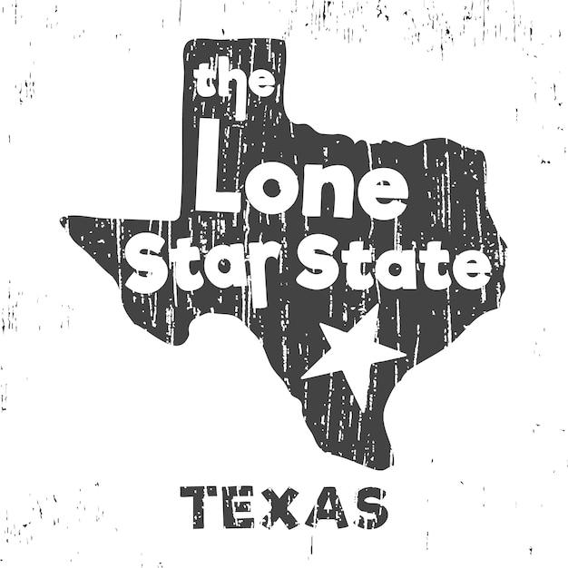 Texas - le timbre de t-shirt lone star state Vecteur Premium